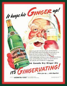 1938 Canada Dry Ginger Ale vintage magazine ad- It keeps Santa's Ginger up!- Ephemera, decor, to frame, nostalgia, reference