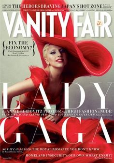 Vanity Fair: January 2012. Lady Gaga photographed by Annie Leibovitz. The dramatic shape and colour of Lady Gaga's hat and dress add such a strong visual element to the image.