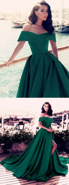 Dark Green Prom Dress,Emerald Green Evening Gowns,Long Prom Dress,Satin Formal Dress,Off Shoulder Prom Dresses,Sexy Prom Dresses