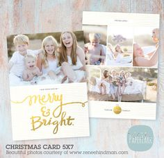 Holiday Christmas Card Template  Photoshop by PaperLarkDesigns