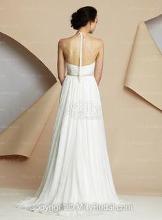 Empire Halter Sleeveless Zipper Belt Court Wedding Dress at Millybridal.com