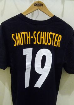 JuJu Smith-Schuster Pittsburgh Steelers Black Primetime Short Sleeve Player T Shirt - 17321809 Steelers T Shirts, Go Steelers, Pittsburgh Steelers, Pitt Panthers, Team Logo, Screen Printing, Tees, Sleeves, Cotton
