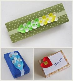 Gift wrapped presents with an origami heart chain decoration