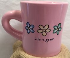 Life is Good Daisies Pink Diner Restaurant Coffee Tea Hot Chocolate Mug Cup VGC! #LifeIsGood