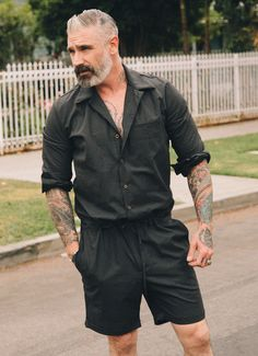 We choose not to call these men's rompers but rather the traditional name, men's jumpsuit. Breathable and so comfortable! You won't want to take it off on those sunny days. MADE IN USA *All sale items are final. No Returns/Exchanges. Mens Fashion Casual Shoes, Mens Fashion Suits, Men's Fashion, Rugged Style, Romper Men, Schneider, Men Style Tips, Mens Clothing Styles, Look Cool