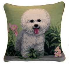 Dog Lover Gifts - Bichon Frise Needlepoint Pillow – For the Love Of Dogs - Shopping for a Cause www.aloveofdogs.com