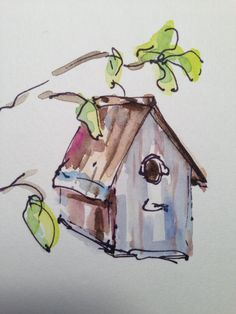 Birdhouse Watercolor Card by gardenblooms on Etsy
