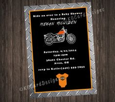 harley davidson baby shower invitation by kgcarddesigns on etsy