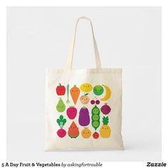 Shop 5 A Day Fruit & Vegetables Tote Bag created by askingfortrouble. Cotton Bag, Cotton Canvas, Kawaii Illustration, Colorful Fruit, Mason Jar Candles, Budget Fashion, Design Your Own, Vegetables, Gifts