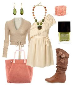 """cherry limeade"" by htotheb ❤ liked on Polyvore featuring L'Agence, Charlotte Russe, Vintage Princess, David Aubrey, Butter London, cream, pink, brown and green"