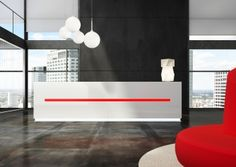 Salve reception desk is a stunning Italian linear reception counter range with LED illumination suited to modern commercial reception areas. School Reception, Reception Entrance, Reception Counter, Reception Areas, Reception Desks, White Office Furniture, White Desk Office, Reception Furniture, Office Space Design