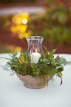 rustic green fern wedding centerpiece