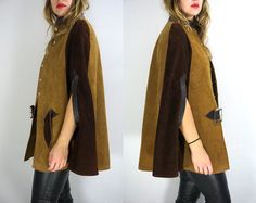 Vintage 1960's 70's Suede Cape Leather Cape Shawl by WINTERHIDE