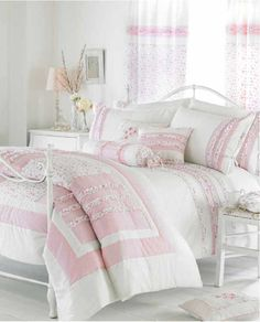 White Cream Pink Ruffle Bedding Duvet