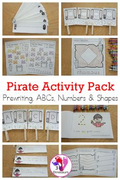 Pirate Activity Pack: Prewriting, Shapes, ABCs & Numbers - A pirate themed pack with pirate themed easy reader books, pirate clip cards, pirate training strips and pirate no-prep worksheets 189 pages - 3Dinosaurs.com #pirateprintables #themedpack #printablepacks #3dinosaurs #prek #kindergarten Pirate Activities, Activities For Kids, Easy Reader, Hands On Learning, Pre Writing, Pirate Theme, Gross Motor, Abcs, Gold Coins