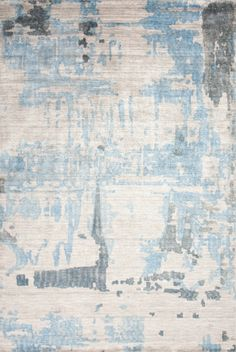 Abstract brushstrokes overprinted on bamboo silk create a weathered look, lending an urban touch to this hand knotted rug. (Papilio SIL-7002) @Papilio Rugs