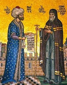 Mehmet II, the Ottoman sultan who conquered Constantinople, and the Orthodox patriarch, Gennadius. The Ottomans treated Christians with tolerance, although the relationship was uneasy. Mehmed The Conqueror, Jena, Fall Of Constantinople, Ottoman Turks, Religion, Site Photo, John The Baptist, Ottoman Empire, World History