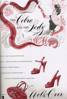 Red cobra platform shoes 1947-Vintage Style Files Blog #platformshoes #vintageshoes #1940sShoes
