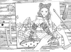 by ImHope on Pretty girls. Black and white Illustrations with cute girls. 11 different girls characters on a white background and 29 editable Adult Coloring Book Pages, Coloring Books, Black And White Illustration, Graphic Illustration, Pretty Girls, Cute Girls, Bunny Costume, Find Girls, Zen Art