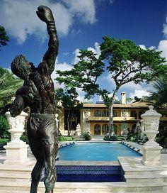 Sylvester Stallone`s backyard pool and Rocky Balboa statue.