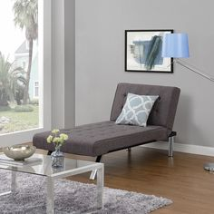 The DHP Emily Chaise Lounger is the perfect addition to any living room, study, den or office. The multi-position back features click-clack technology, which quickly converts the chaise from lounger to sleeper.