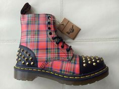 4bb4c47c126 Doc dr martens dai black red stewart tartan spike leather boots new with  box 6uk