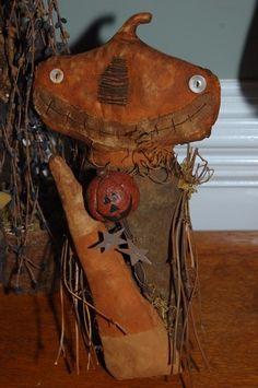 Primitive Grungy Pumpkin and Candy Corn Halloween Stump Doll or Shelf Sitter | eBay