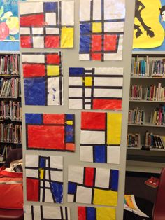 Piet Mondrian kids art Art Lessons For Kids, Art Activities For Kids, Piet Mondrian, Mondrian Art Projects, Abstract Art For Kids, Math Patterns, Montessori Art, Math Art, Expo