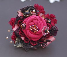 Red Coral Flower Brooch Textile corsage Bridal corsage Textile