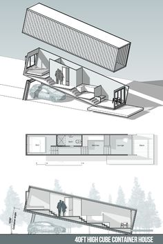 A building designer specialising in stylish, energy efficient and cost-effective renovations, extensions and new homes for the Canberra region Storage Container Homes, Container House Plans, Shipping Container Homes, House Floor Design, Small House Design, House Floor Plans, Architecture Concept Diagram, Container Architecture, Box Houses