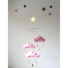 """Pink cloud mobile for nursery """"EMILY"""" with gold star by The Butter Flying-Rain Cloud Mobile Nursery Children Decor"""