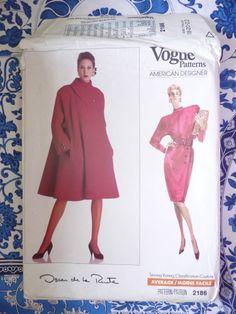 Vogue Pattern   2186        OSCAR DE LA RENTA   -  Size:  1820-22   - Uncut