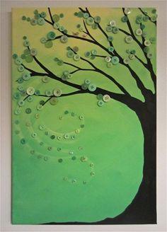 Cuadro de árbol decorado con botones