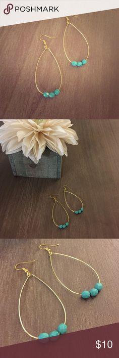 Teal Gold Hoop Earrings Handmade by me! Love these! Something Featherlee Jewelry Earrings