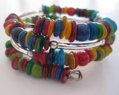 Memory Wire Jewelry Multi Colored Bangle by lizbriggsdesigns, $32.00