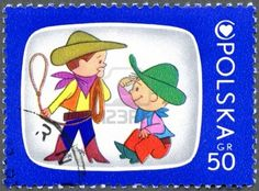 POLAND - CIRCA 1975: A stamp printed in Poland shows Bolek And Lolek, Cartoon Characters and Children's Health Center Emblem