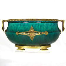 Paul Milet Sevres French Porcelain Jardiniere with Signed DELAUNAY Bronze Mounts