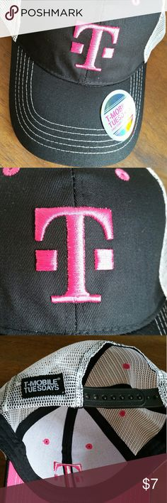 Brand New T Mobile Baseball Cap I am selling a brand new black baseball cap with some white and pink accents from T-Mobile   If you missed the anniversary on June 6th   Tag still on the hat   If you have any questions, let me know : )   I would earn $4 from this sale T Mobile Accessories Hats