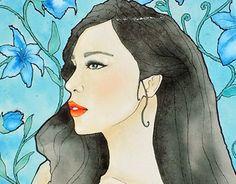Blue State of Mind #illustration #watercolors #artwork #artnouveau