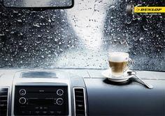 Cafe y Dunlop #motor #neumaticos #coche Desayunos en el coche en días de lluvia