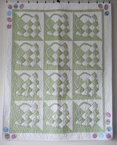 Easter Basket Quilt Baby Quilt Spring Quilt Green by Codysquilts, $85.00 One of April's Shop Hop Entries.. They're all Gorgeous!!