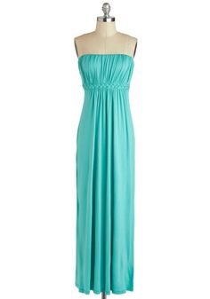 Go for a Spindrift Dress - Jersey, Long, Mint, Solid, Braided, Ruching, Casual, Maxi, Strapless, Sweetheart, Cutout, Beach/Resort, Summer