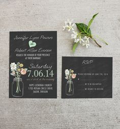 mason jars inspired mint and peach chalkboard rustic wedding invitations #weddinginvitations