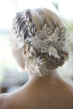 Bridal Hair - 25 Wedding Upstyles & Updo's - An enchanting side braided upstyle with dazzling hair accessory creates an ethereal look Would also be pretty for bridesmaids (minus the hair piece). Up Hairstyles, Pretty Hairstyles, Bridal Hairstyles, Hairstyle Ideas, Medium Hairstyles, Short Haircuts, Winter Wedding Hairstyles, Bridesmaid Hairstyles, Hairstyle Short