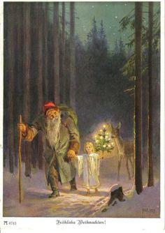 AK Weihnacht Paul Hey Christkind Weihnachtsmann St. Nikolaus | eBay old czech christmas card santa green coat snow maiden carrying lit tree deer