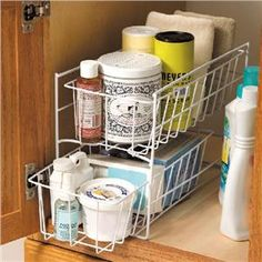 White Slide-Out Under-Sink Organizer from Lillian Vernon