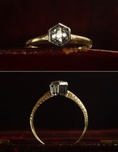1920s Art Deco 0.24ct European Cut Diamond Ring, 14K Filigree, $850