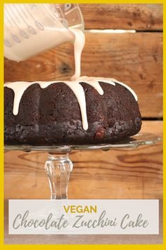 A rich and moist vegan Chocolate Zucchini Cake with cinnamon glaze; the perfect dessert to celebrate the beginning of fall. Pair it with a glass of red wine for a wonderful evening of decadence. Vegan Sweets, Vegan Desserts, Dessert Recipes, Vegan Food, Eggless Desserts, Dessert Ideas, Baking Recipes, Healthy Recipes, Fall Recipes