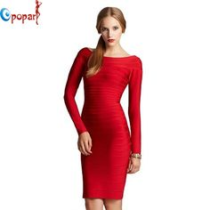 New Arrival HL Evening Dress 2013 Celebrity Full Long Sleeve Good Elastic Cocktail Party Foraml Gowns Red Maxi Dresses HL1306