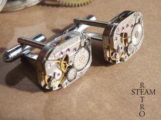 Retro Steampunk boutons de manchette 18mm por Homme